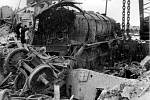 Destroyed locomotive after the explosion of an ammunition wagon