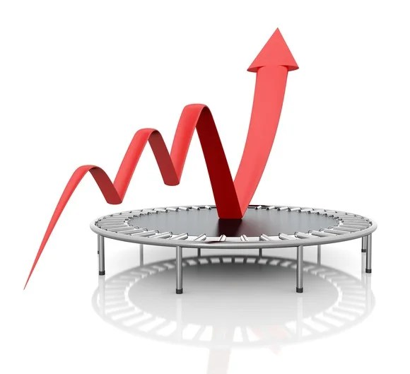 Growth chart bouncing off a trampoline.