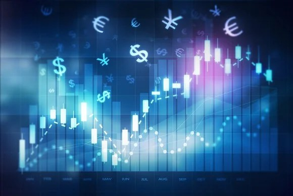 Forex trading chart showing monetary symbols of multiple countries.
