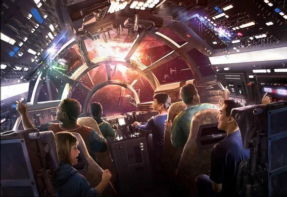An artist rendering of the Millenium Falcon ride
