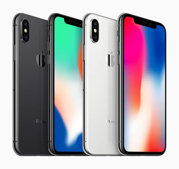 Front and rear views of the iPhone X in silver and space gray colors