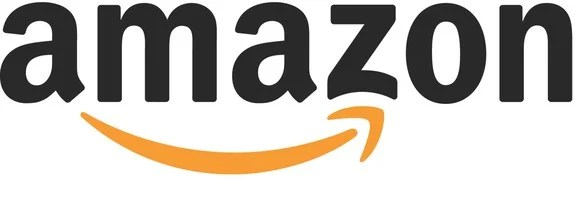 Amazon logo with word amazon in lower case and right-pointing upward-arcing orange arrow.