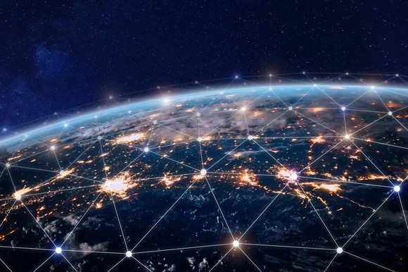 Wireless connections visualized across the globe.
