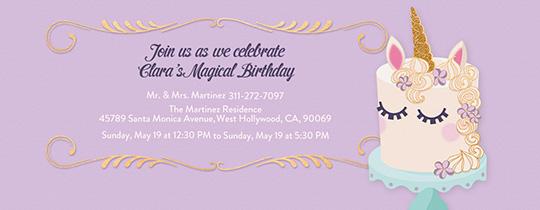 Unicorn Cake Invitation