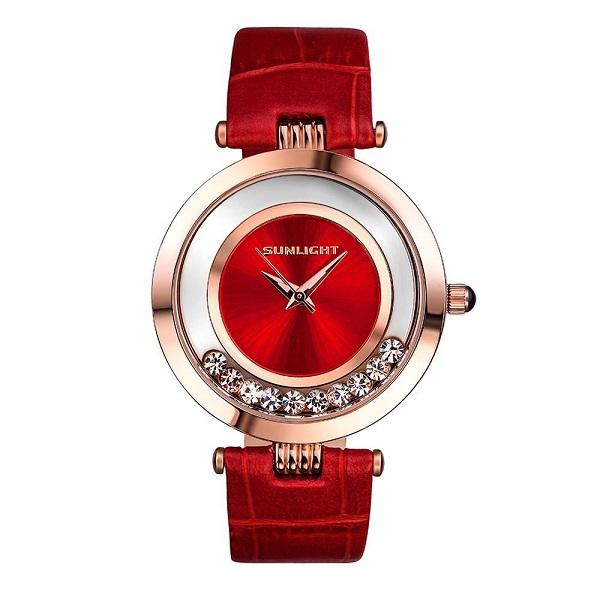 ساعة نسائية مع بلورات الرقص على حزام جلد