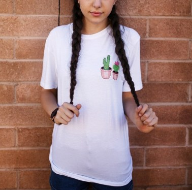 Fashion Summer 2015 Women Elegant Cactus Print Embroidery White T shirt O neck Short Sleeve PUL 66-in T-Shirts from Women's Clothing & Accessories on Aliexpress.com | Alibaba Group