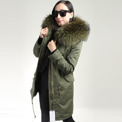 OFTBUY Dropshipping 2016 Army Green Холодная зима пальто женщин длинные натуральный мех пальто большой енот Меховой воротник капюшоном толстый теплый парки