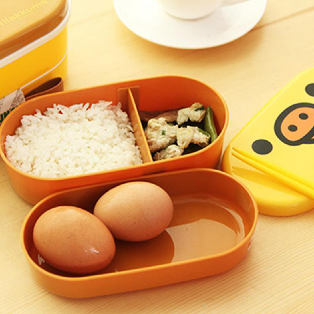 Resultado de imagen de Cartoon Rilakkuma Lunchbox Bento Lunch Box Food Container With Chopsticks Japanese Style Plastic Lunch box