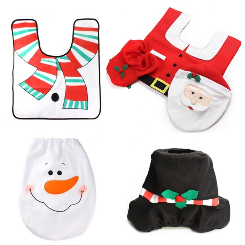 3 pcs Christmas Santa Toilet Seat Cover Rug Bathroom Set Decoration Rug Christmas Xmas Natal Navidad Decoration for Home