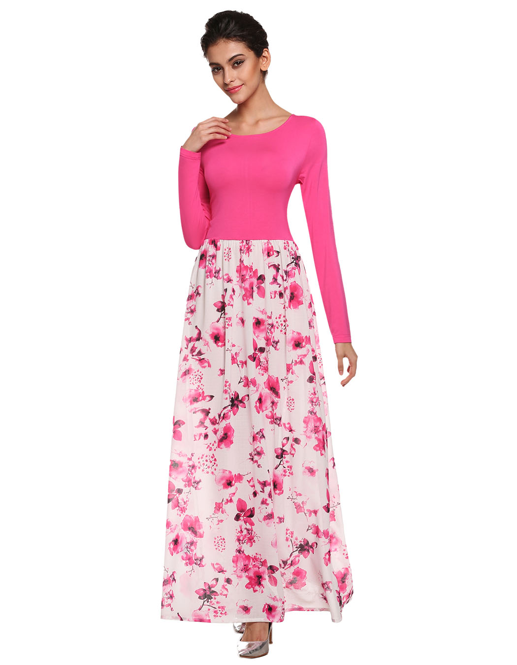 Pink Floral Dress Long Sleeve