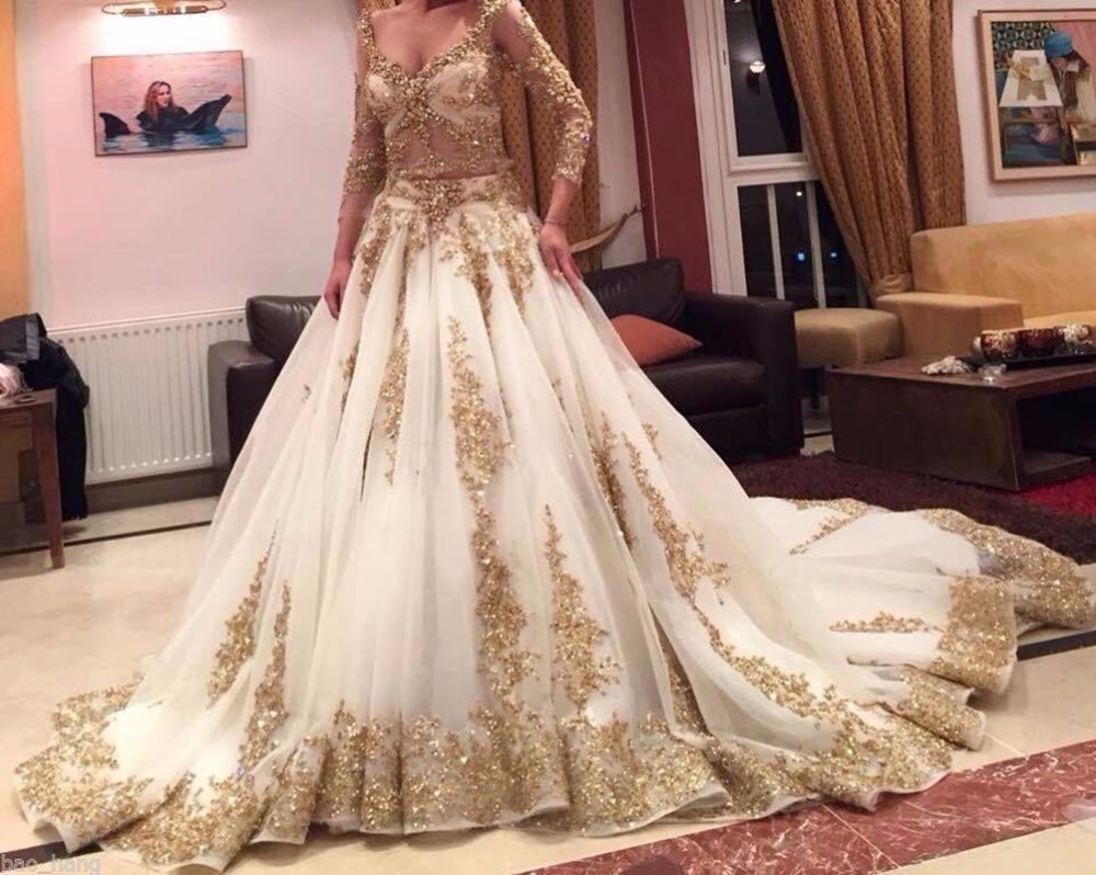 Luxe Superbe 2016 Blanc V Long Neck Manches Princesse Robe