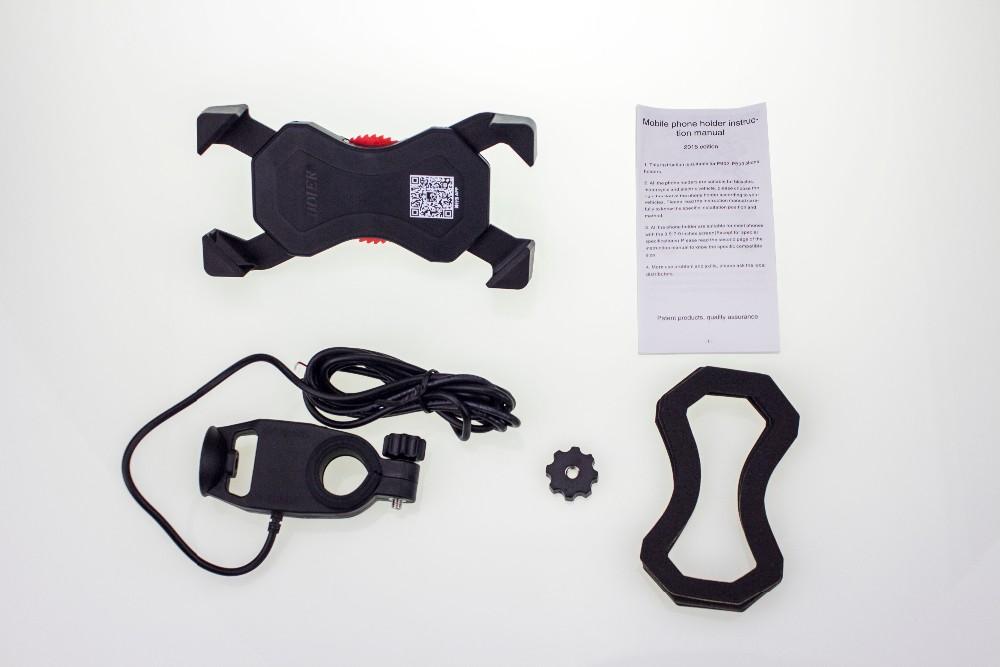 אוניברסלי אופנוע טלפון נייד תמיכה מחזיק נשלף ו-USB מטען הכידון הר אחיזה לאייפון 7 גלקסי S7