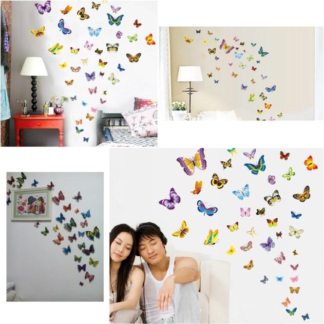 38pcs Package Erfly Wall Decor Art Stickers Home Accessories Bedroom Living Room Decoration