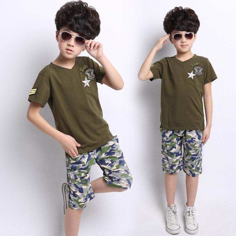 kids us army summer SHORT SLEEVE COTTON baby clothes chlothing child children's suit boy boy's girls child's set