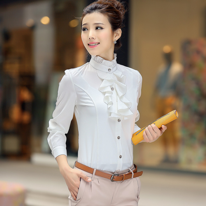 Women Plus Size Blouses Office Wear Long Sleeve Red Ruffles Formal Shirts Turn Down Collar S Plus Size Formal Blouses