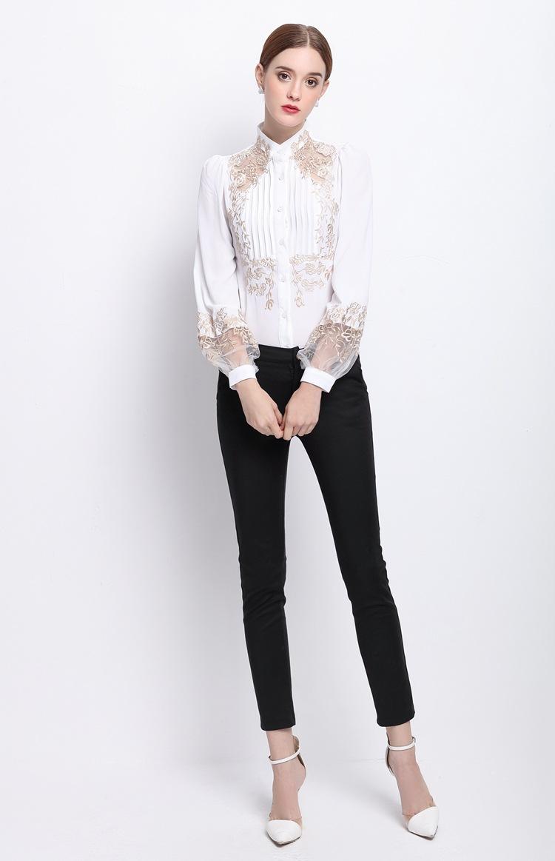 HTB1b0jiOVXXXXaOaXXXq6xXFXXXv - 2017 Spring Women Elegant Hollow Princess Long Sleeve Brand Silk Blouse Shirts white/black embroidery Shirts Tops Female Blusas