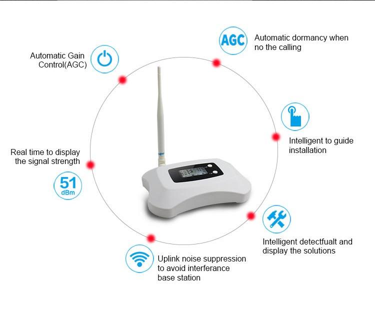 תצוגת LCD, מיני 2100mhz WCDMA 3G רשת מהדר, עוצמה אות מגבר מגבר עם יאגי והתקרה אנטנה