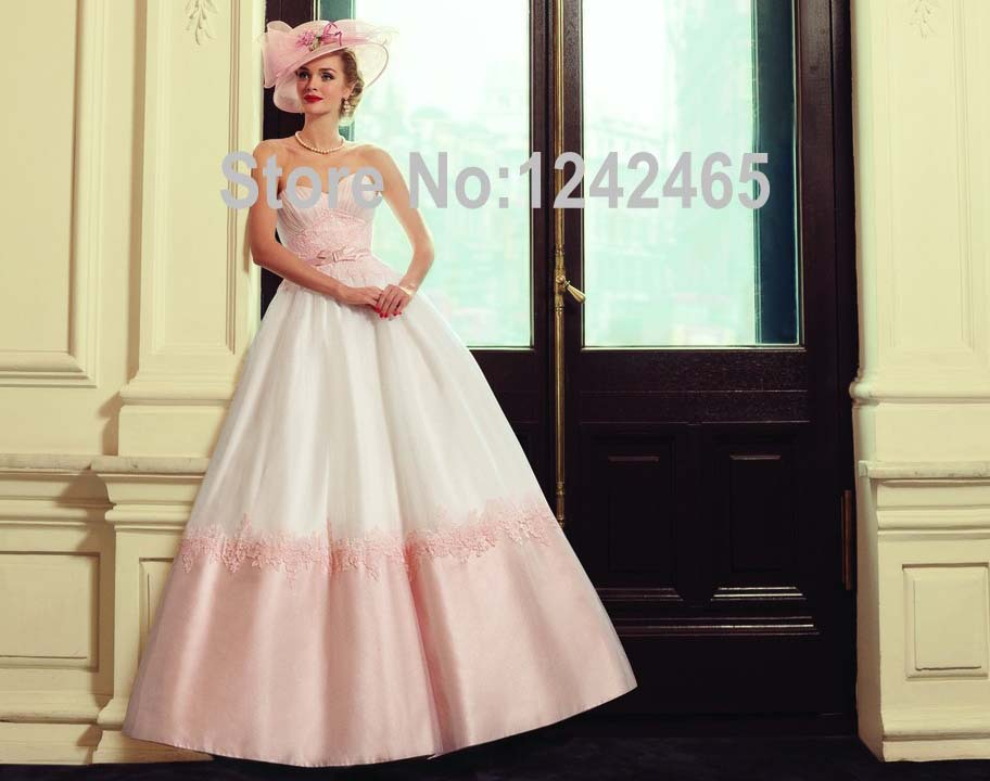 2016 Angle's Bridal Sweetheart Peach Colored Wedding Gowns