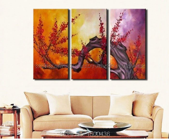 Hand Painted Japanese Cherry Tree Red Flower Decorative