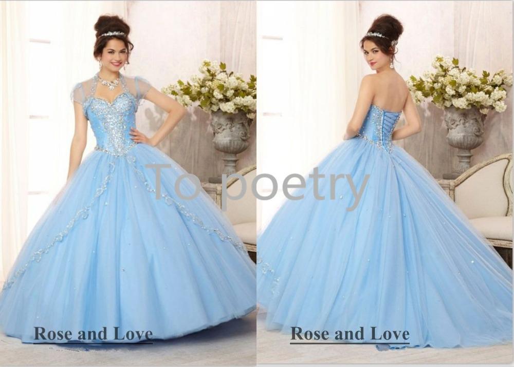 Sweetheart Light Blue Quinceanera Dresses Sweet 16 Ball