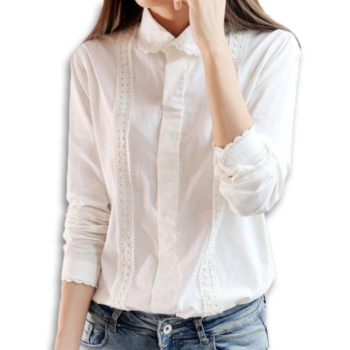 White Lace Cotton Blouse Plus - Collar Blouses