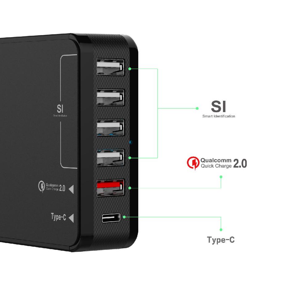 מטען USB carregador celular 6-Port USB מטען קיר עם 4 חכם יציאות 1 Quick Charge 2.0 1 סוג C בריטניה Plug עבור Iphone סמסונג