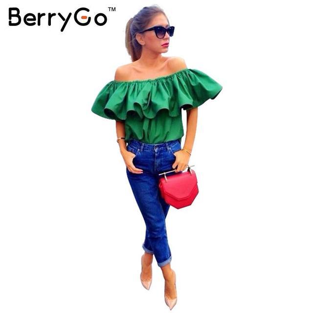 BerryGo Высочайшее Качество Сексуальная с плеча женщины блузка рубашка Летом растениеводство топы slash шеи рюшами партия тройники Девушки пляж трубки топ