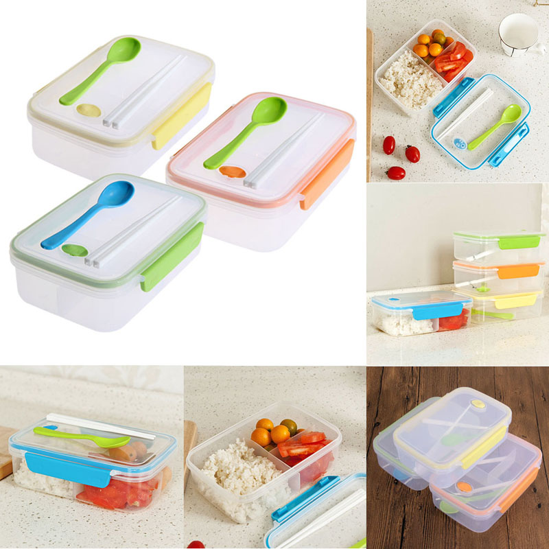 Resultado de imagen de New Transparent Three Compartments Lunch Bento Food Box Snack Container Storage lunchbox