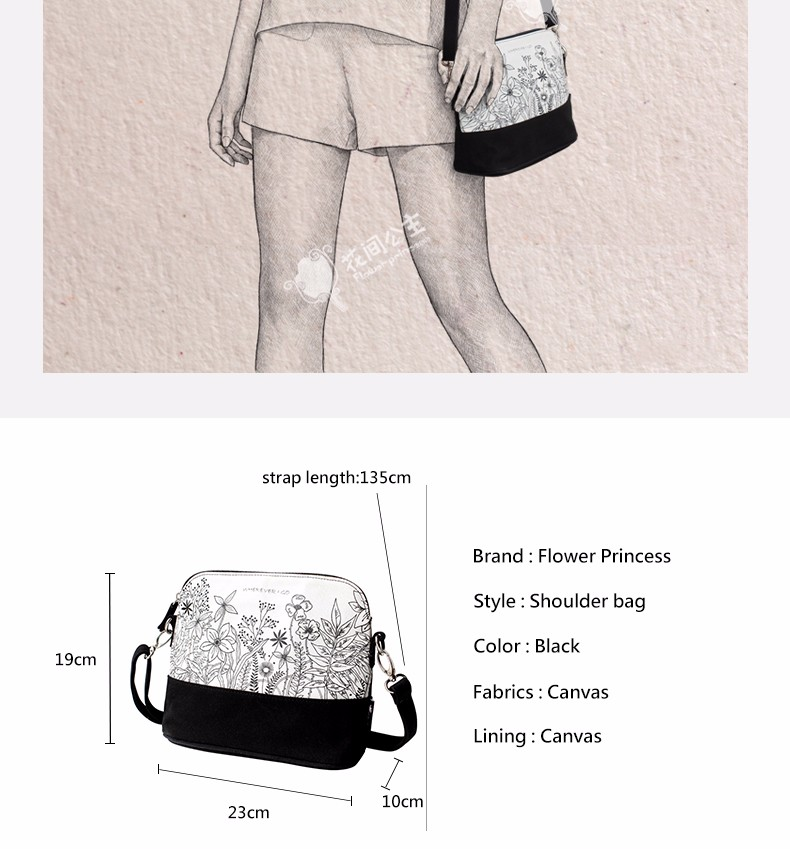 5269538328debc Flower Princess Brand Canvas Women Bag 2017 White Single Shoulder ...