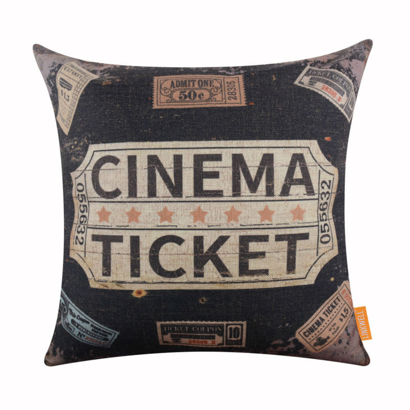 linkwell 18 x18 vintage retro black cinema ticket room relax burlap decorative pillowcase decorative cojines cushion cover cover tissue cushion cover pattern freecover carport aliexpress