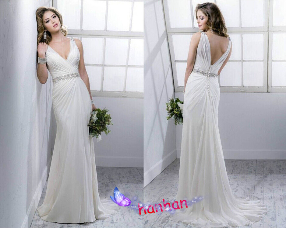 New White/ivory Beach Chiffon Wedding Dress Deep V Neck