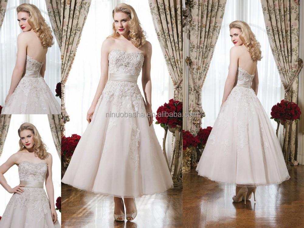 Gorgeous 2015 Tea Length Ball Gown Wedding Dress Strapless