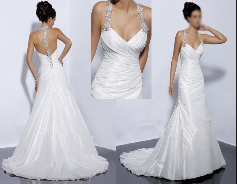 Sexy Halter Backless Bridal Dresses 2015 White Islamic
