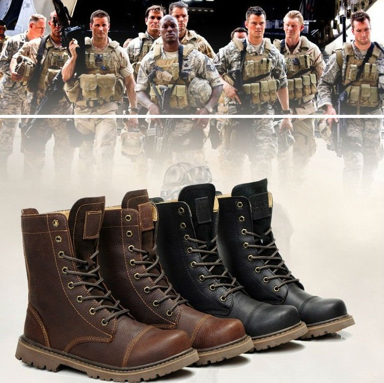 Real Leather Combat Boots Rubber Soles