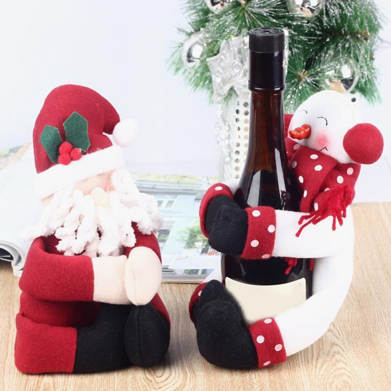 Kerst 2pcs/lot Santa Claus Snowman New Year Christmas Decoration Supplies Gift Christmas Wine Bottle Cover Gift Bag Ornament