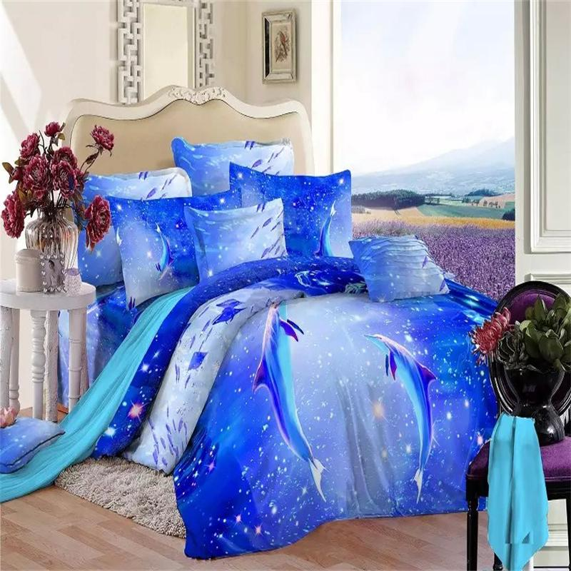 2015 New Listing 3d Dolphin And Fish Blue Ocean Bedding