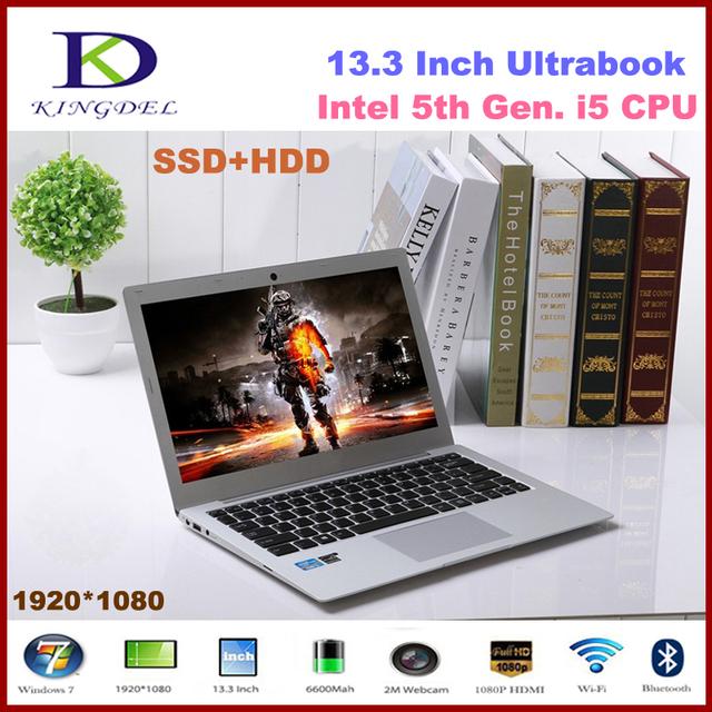 "Intel i5 5-го поколения ПРОЦЕССОР Ultrabook, 13.3 ""Портативный Компьютер, 8 ГБ ОПЕРАТИВНОЙ ПАМЯТИ, 128 ГБ SSD + 1 ТБ HDD, 1920*1080, HDMI, 8 Батарея, Windows 10"
