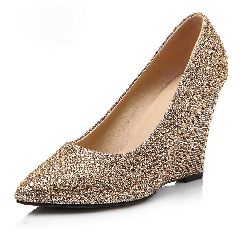 Popular Gold Wedge Wedding Shoes Buy Cheap Gold Wedge