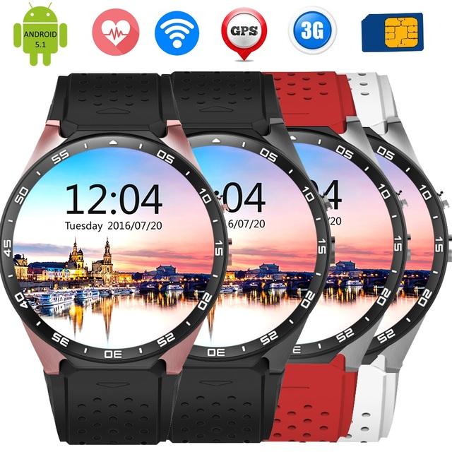 Бренд KingWear KW88 3 Г Smartwatch Smart Watch Wacht Телефон Android 5.1 MTK6580 Quad Core GPS Шагомер С 2.0MP Камеры СИМ карты