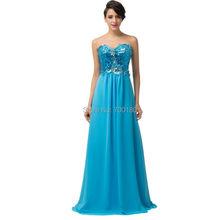 A-line Sweetheart Women Evening Dresses Sequins Sparkly Long Prom Party Dresses Deep Sky Blue/Apricot Vestido De Baile CL6146(China (Mainland))