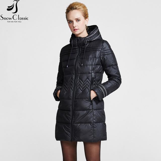 Snowclassic Новая Коллекция Зимы пуховик зимний женский из стопроцентного полиэстра Пуховик длинного фасона с капюшоном Пальто для женщин с утепленнием 15223