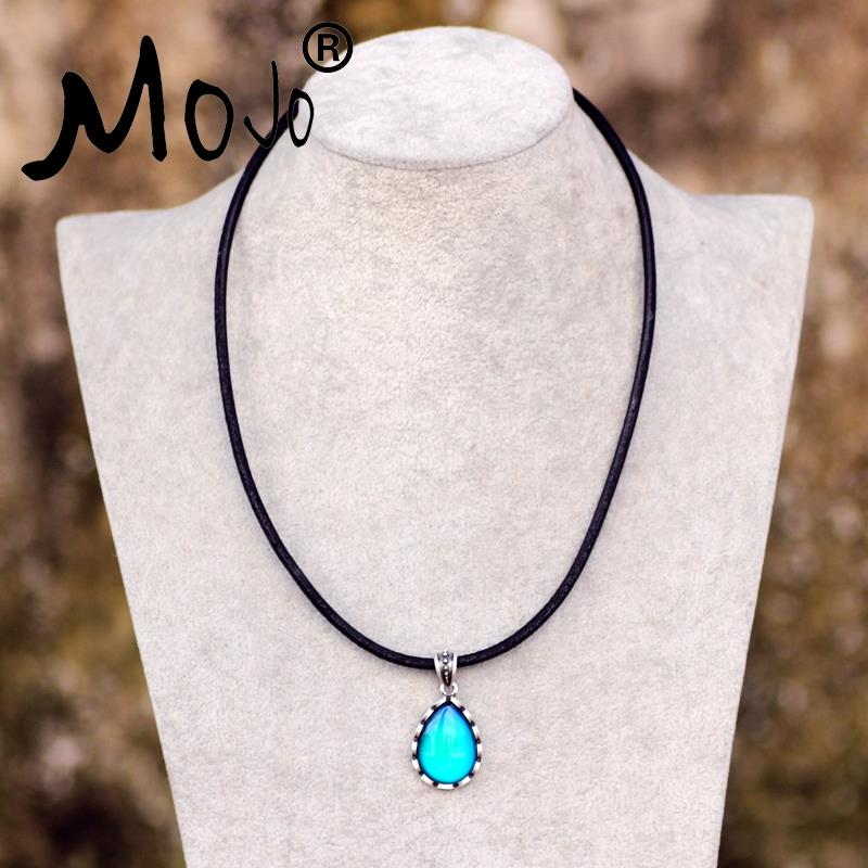 Mojo Traditional Design Sterling Vintage Silver Water Drop Formed Temper Pendant Leather-based Rope Temper Shade Change Necklace MJ-SNK003 HTB1RRncHFXXXXaNapXXq6xXFXXXV