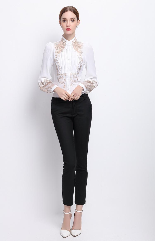 HTB1TQm6OVXXXXbJaFXXq6xXFXXXq - 2017 Spring Women Elegant Hollow Princess Long Sleeve Brand Silk Blouse Shirts white/black embroidery Shirts Tops Female Blusas