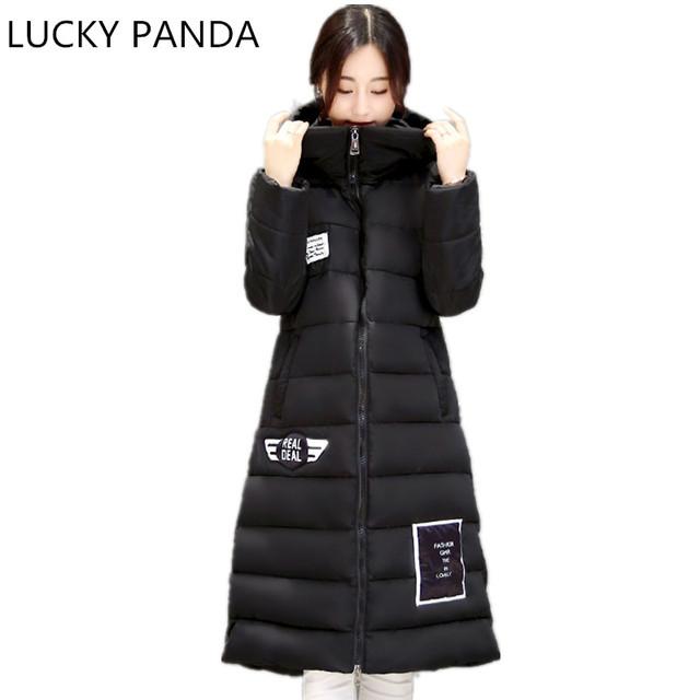 Лаки Panda 2016 Женщины Зимой Вниз Хлопка Куртки Длинные Женщины пальто Толстые Теплые Одежда Куртка мех Комок Шерсти Высокого Качества пальто