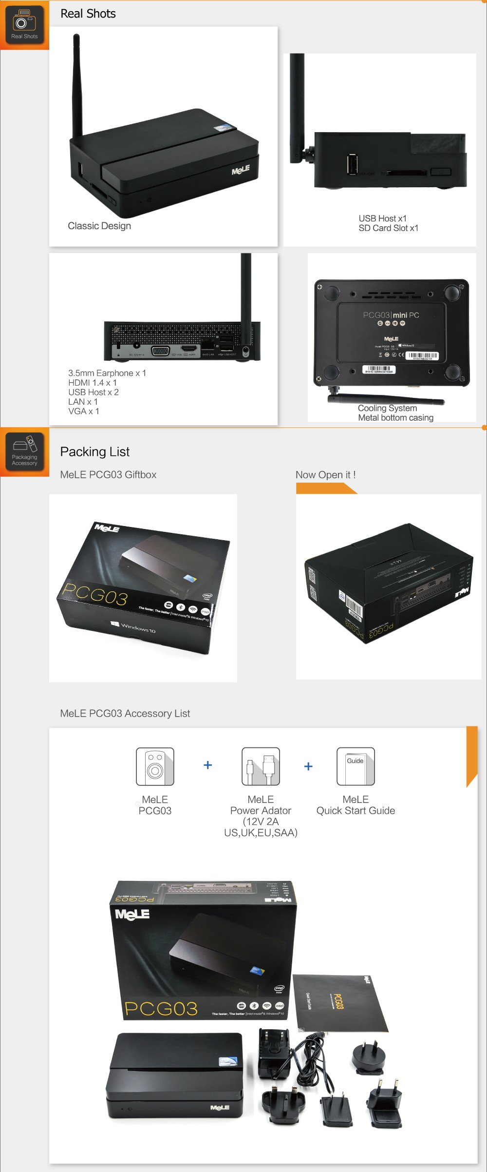 32GB מלה PCG03 Quad Core Mini PC Intel Atom Z3735F 2GB RAM 1080P HDMI 1.4 VGA החוצה LAN WiFi Bluetooth Windows 8.1 מערכת הפעלה עם בינג