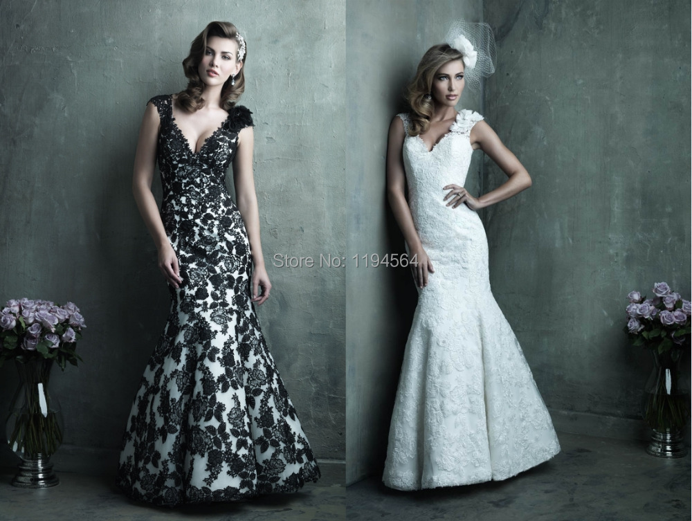 Black And White Lace Wedding Dresses Mermaid Bridal Gown