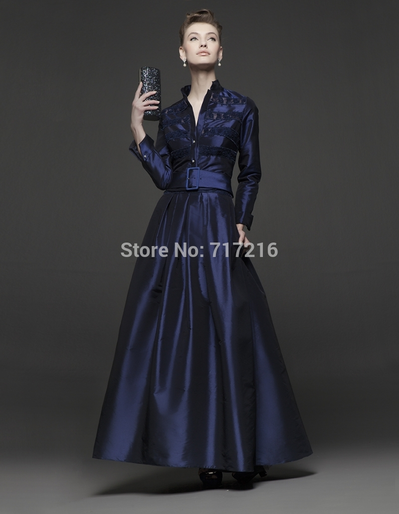 Navy Velvet Evening Gown Blue