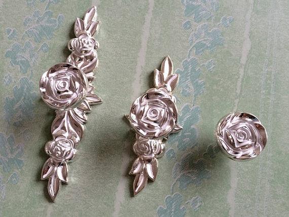 Shabby Chic Dresser Drawer Handles Silver White Rose