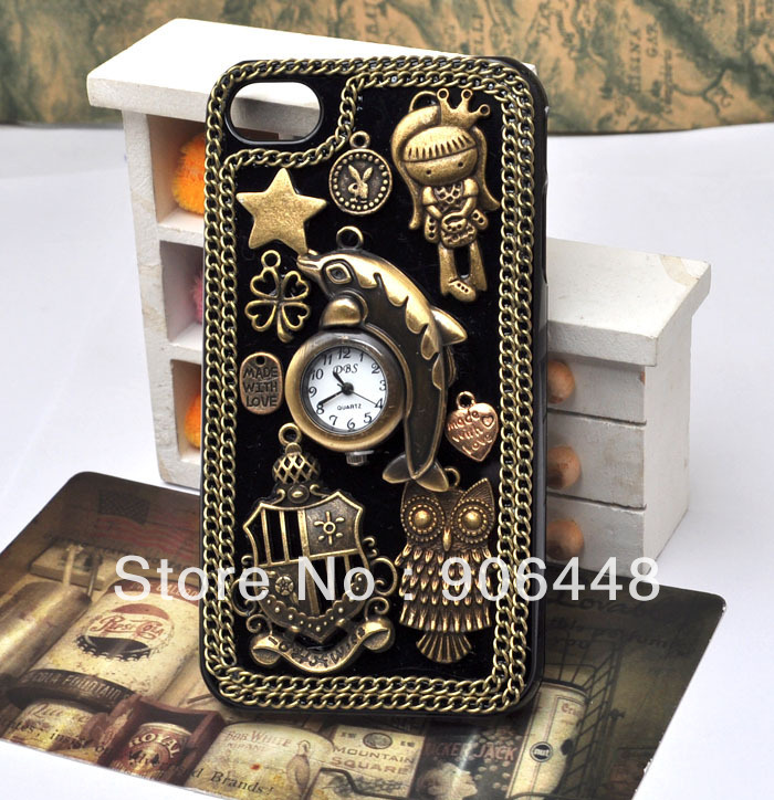 Steampunk Retro Style Cell Phone Case For Iphone 4 4S 5 With Dolphin Clock And Bronze Alloy