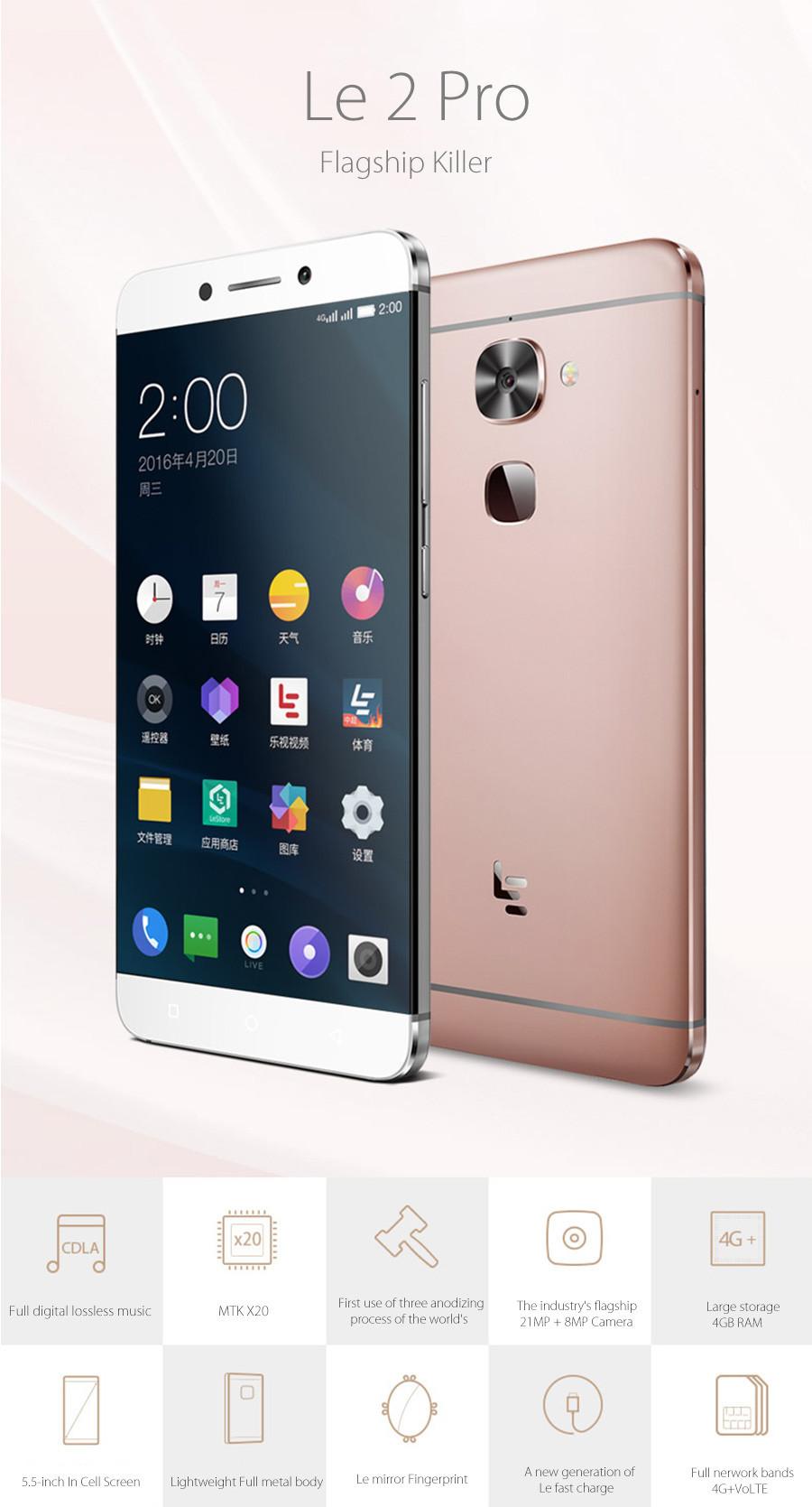 מקורי Letv Le 2 Pro X20 FDD LTE טלפון נייד 4GB RAM 32GB ROM MTk Helio X20 Deca הליבה 5.5